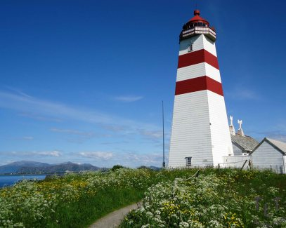 Alnes Lighthouse in Alesund, Norway.